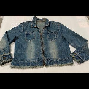Faded Glory denim zip jean jacket frayed hems